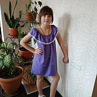 Платье детское летнее  с жемчугом на 6-10 лет