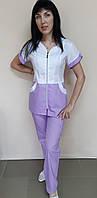 Медицинский женский костюм на молнии короткий рукав