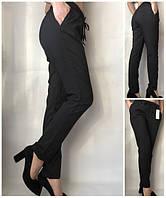 Брюки женские летние однотонные на резинке черные, батал летние женские брюки больших размеров, фото 1