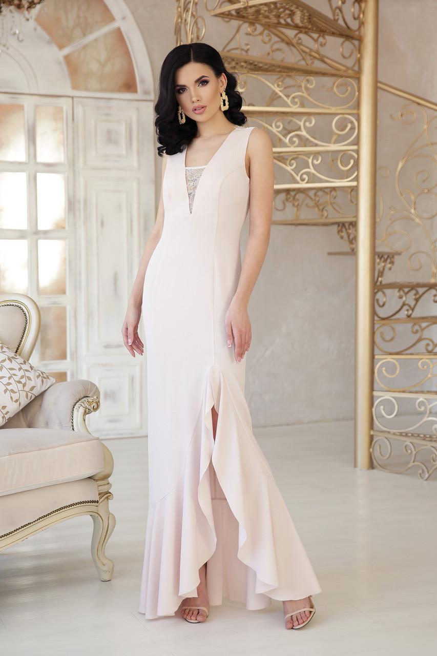 Женское Коктейльное платье в пол с разрезом внизу платье Этель к/р  светло-бежевый