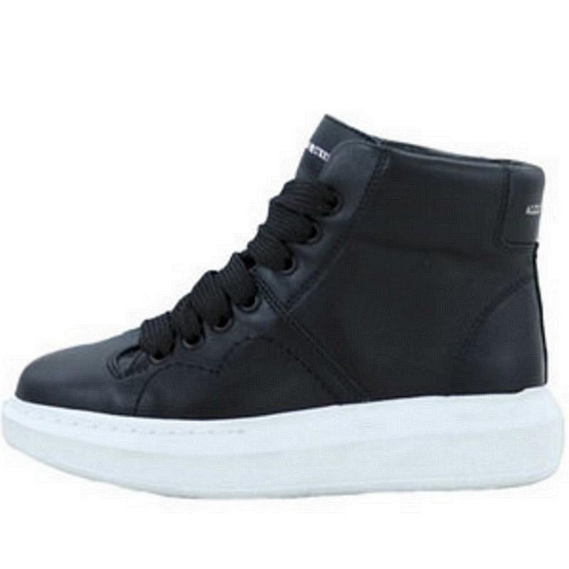 Кроссовки женские Alexander McQueen High - высокие КОЖА! (черные-белые) Top replic