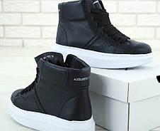 Кроссовки женские Alexander McQueen High - высокие КОЖА! (черные-белые) Top replic, фото 2