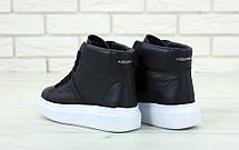 Кроссовки женские Alexander McQueen High - высокие КОЖА! (черные-белые) Top replic, фото 3