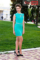 Платье миди с поясом - Бирюзовый