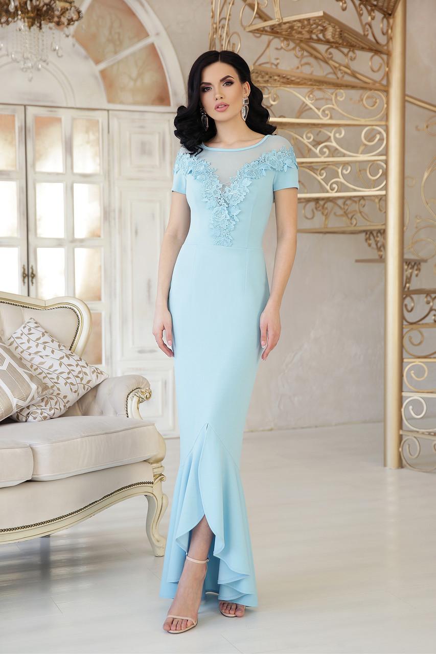 640529c36e47864 Длинное Коктейльное голубое платье в пол с кружевной отделком и воланом  внизу платье Наоми к/