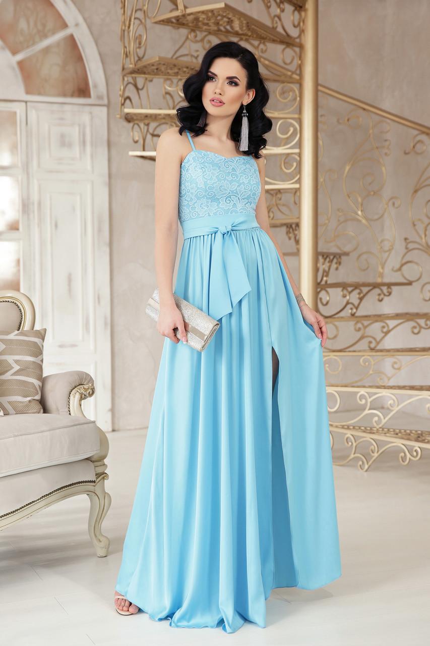 Длинное женское платье в пол с разрезом по переду платье Эшли б/р голубой