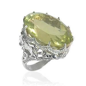 Кольцо серебряное с натуральным лимонным кварцем размер 18