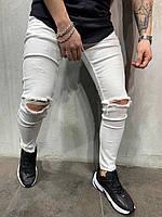 😝 Джинсы - Белые мужские джинсы с прорезаными коленями