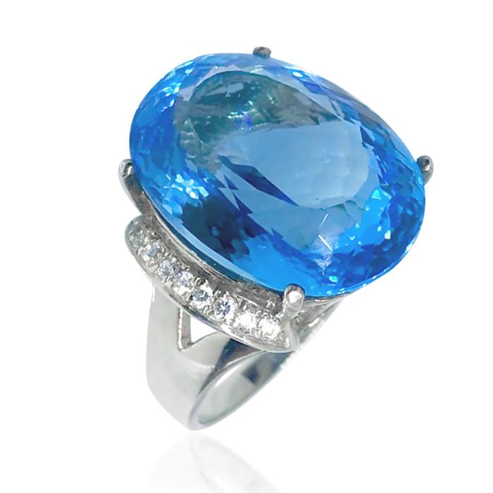 Кольцо серебряное с натуральным топазом размер 17.75