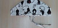 Шапочка медицинская женская Черные коты на завязке