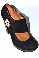 Туфли замшевые женские черные Турция весна осень натуральная кожа 38