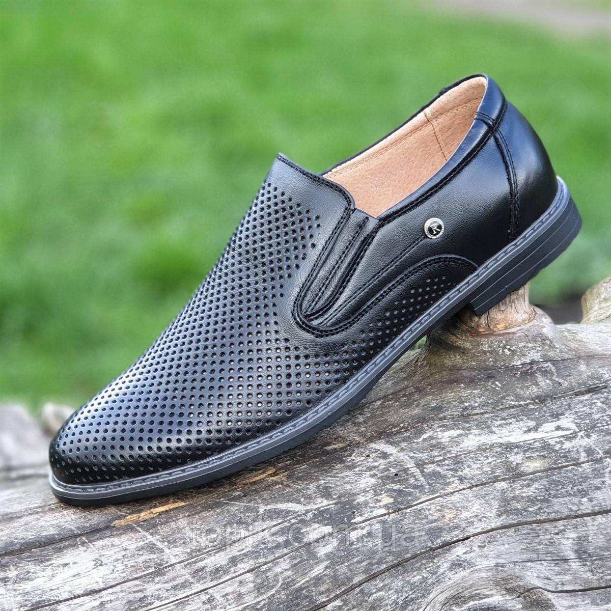 Мужские летние туфли черные кожаные классические без шнурков в дырочку (Код: 1464)