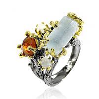 Кольцо серебряное с аквамарином 070 размер 17