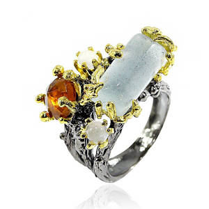 Кольцо серебряное с натуральным аквамарином размер 17