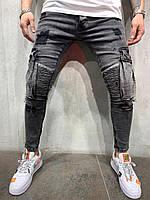 😜 Джинсы - мужские серые джинсы с карманами по бокам