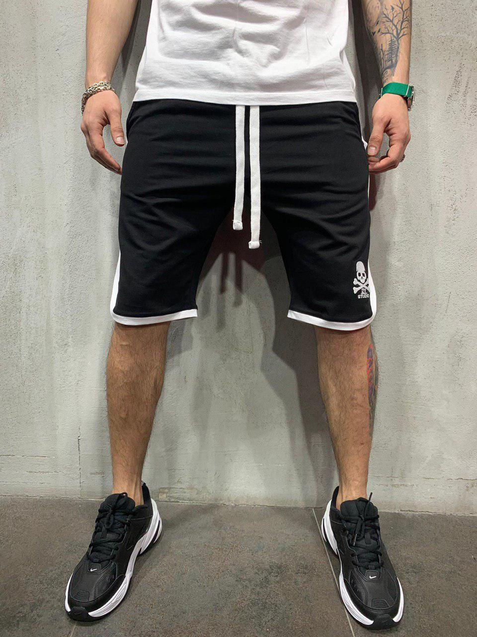 😜 Шорты - Мужские черные шорты с полосками