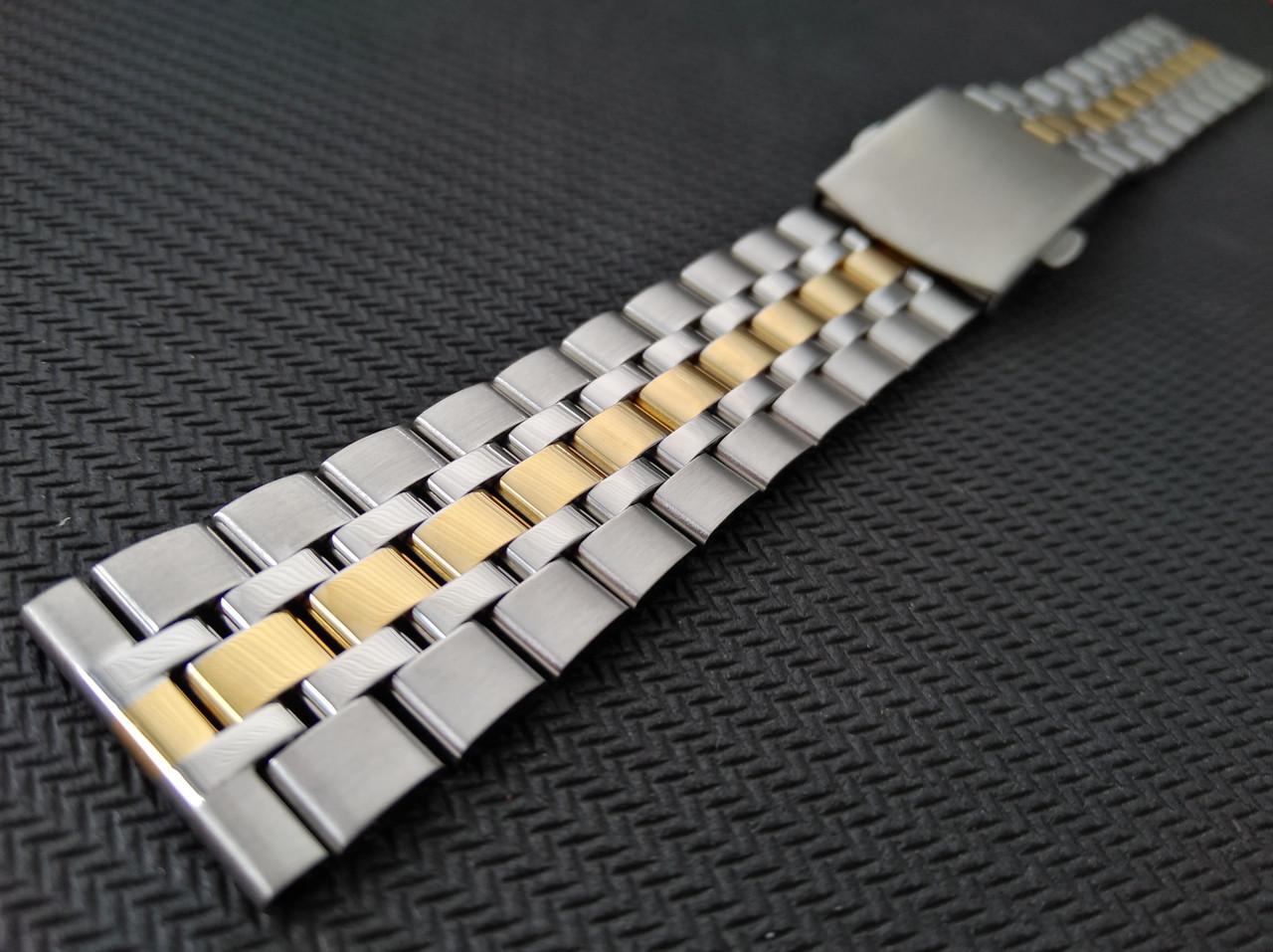 Браслет для часов из нержавеющей стали 316L, литой, глянец/мат с позолотой. Комбинированный. 20 мм