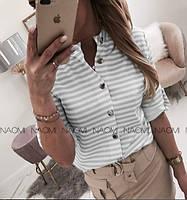 Женская блуза софт в полоску на пуговицах
