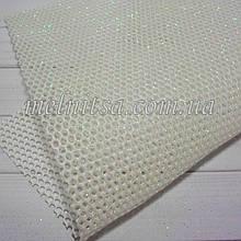 Сітка з глітером на синтетичній основі, 20 х 30 см, колір білий перламутр