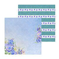 3 Лист двусторонней бумаги для скрапбукинга, коллекция Violet & iris 30х30 см.