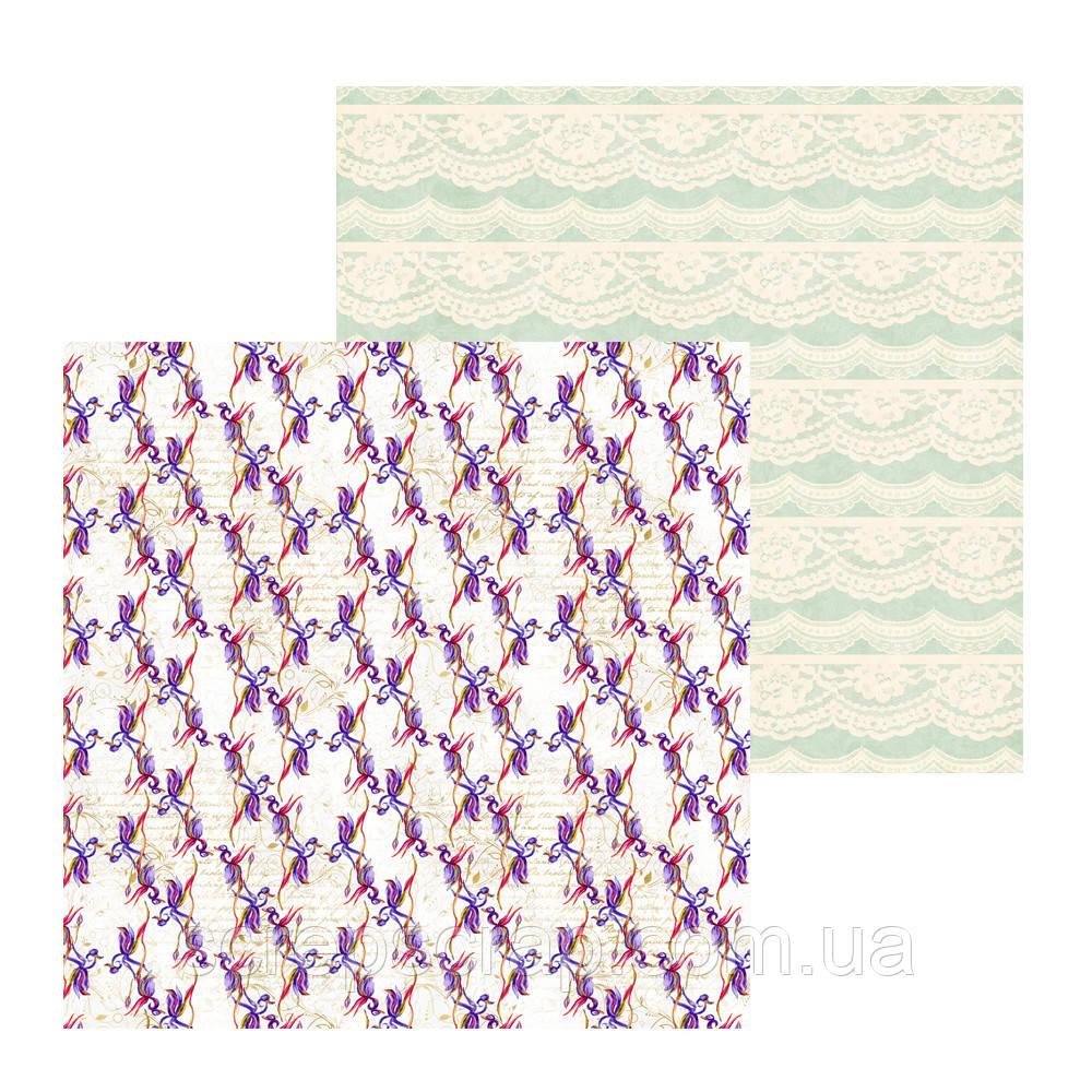 2 Лист двусторонней бумаги для скрапбукинга, коллекция Violet & iris 30х30 см.