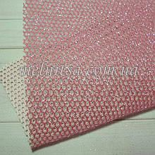 Сітка з глітером на синтетичній основі, 20 х 30 см, колір рожевий