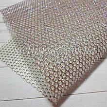 Сітка з глітером на синтетичній основі, 20 х 30 см, колір т. срібло з кольоровим глітером