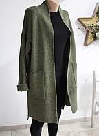 Кардиган теплый вязаный с карманами зеленый