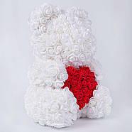 Мишка из роз в прозрачной подарочной коробке, 40 см белый с сердцем. Сделан в Украине - 140161, фото 2