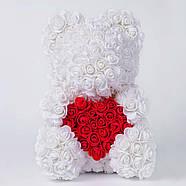 Мишка из роз в прозрачной подарочной коробке, 40 см белый с сердцем. Сделан в Украине - 140161, фото 3