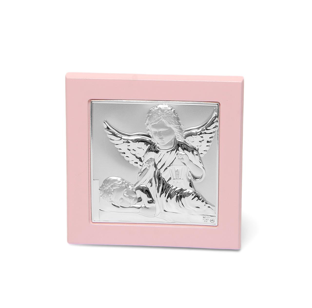 Икона серебряная Ангел Хранитель 11х11см  в подарок девочке на крестины или день рождения