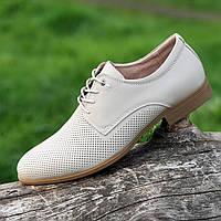Мужские летние модельные кожаные туфли на шнурках в дырочку (Код: 1469)