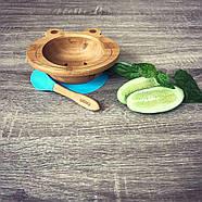 Набор детской посуды из бамбука на присоске Бабака, 250 мл. Голубая - 140112, фото 6