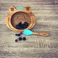 Набор детской посуды из бамбука на присоске Бабака, 250 мл. Голубая - 140112, фото 9