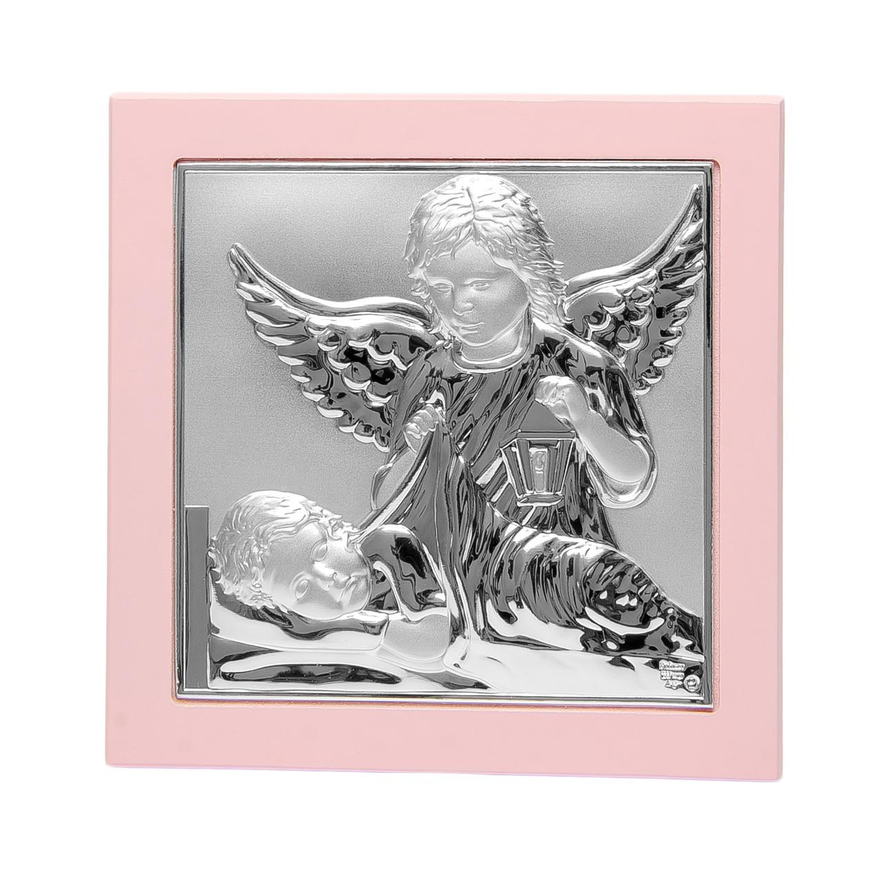 Икона Ангела Хранителя и младенец 14х14см для ребенка девочке в подарок