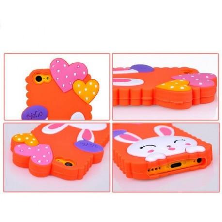 Чехол Cute Heart Hello Rabbit Оранжевый для IPhone 5/5S