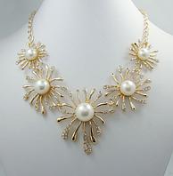 Ожерелье цветы жемчуг