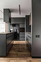 Графитовая кухня с мдф фасадами alvic (Испания) с скрытыми ручками черного цвета, фото 1
