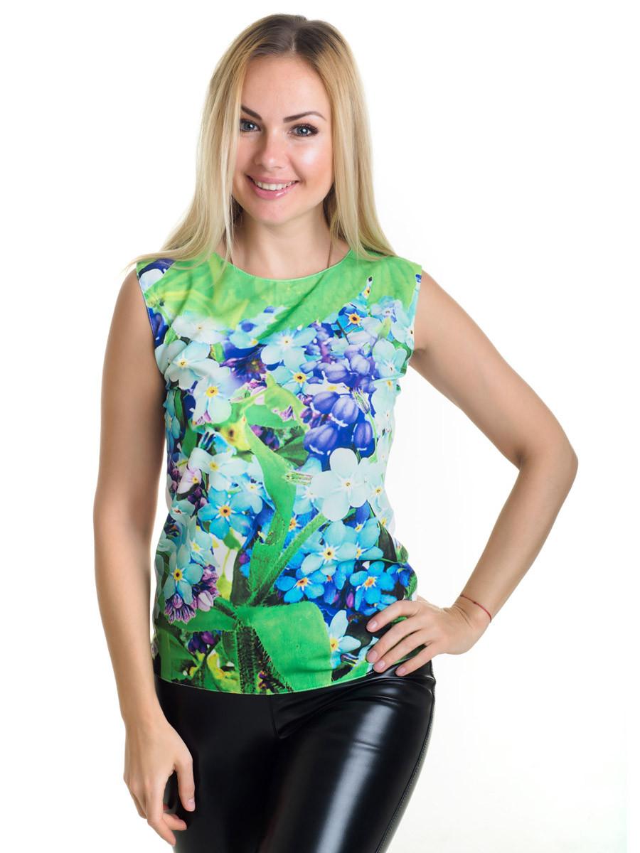 Женская блуза принт без рукава AA2034f