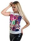 Женская блуза принт без рукава AA2044f, фото 4