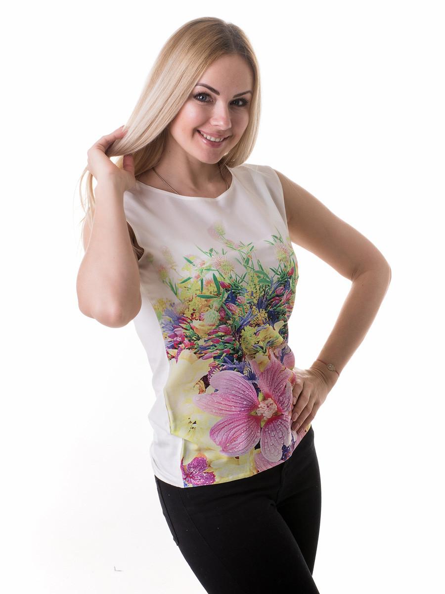 Женская блуза принт без рукава AA2045f