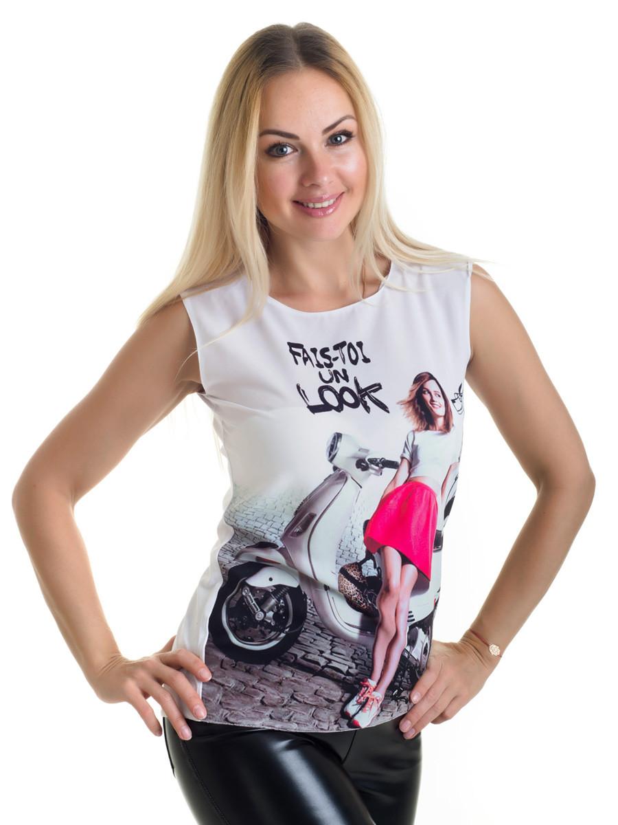 Женская блуза принт без рукава AA2047f