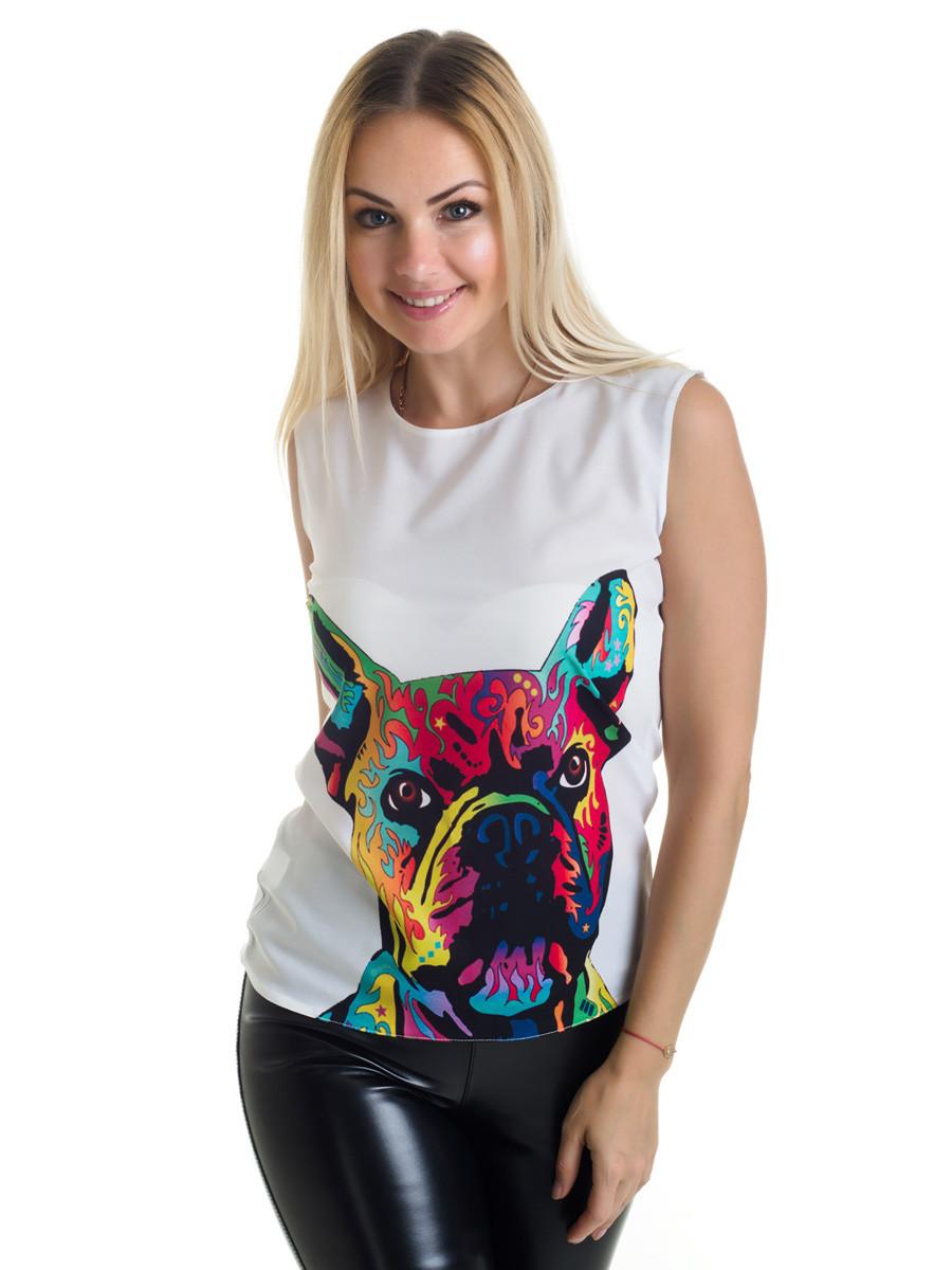 Женская блуза принт без рукава AA2049f