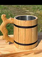 Деревянная кружка с металлической вставкой 0,5л, фото 1