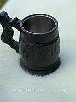Качественный Пивной бокал из дерева Тёмный с металлической вставкой