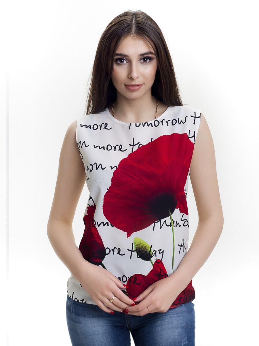Женская блуза принт без рукава AA2050f