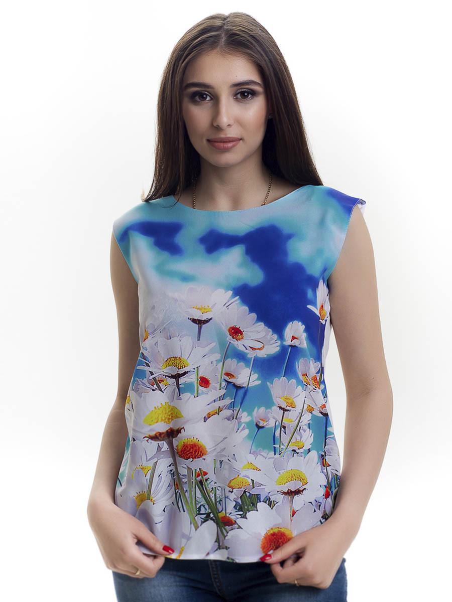 Женская блуза принт без рукава AA2054f
