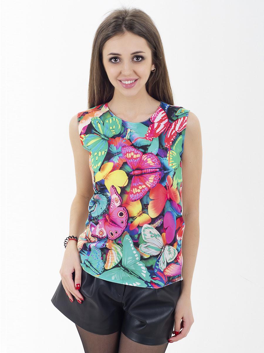Женская блуза принт без рукава AA2056f