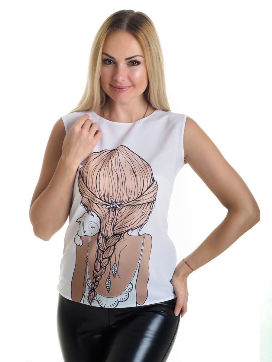 Женская блуза принт без рукава AA2059f