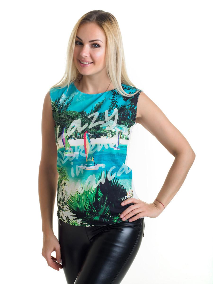 Женская блуза принт без рукава AA2060f